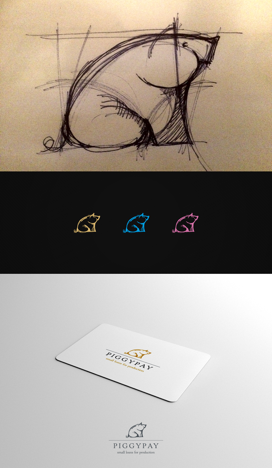 A logo design going from sketch to vector to business card mockup