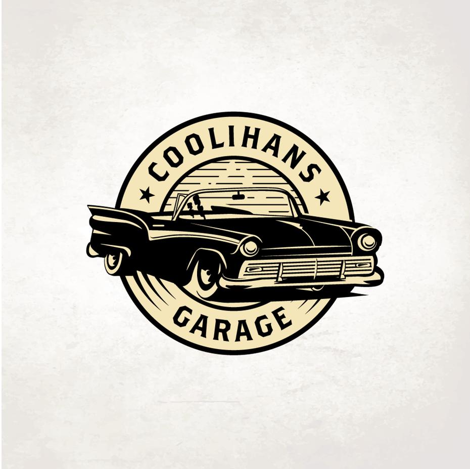 round vintage-style logo showing a retro car