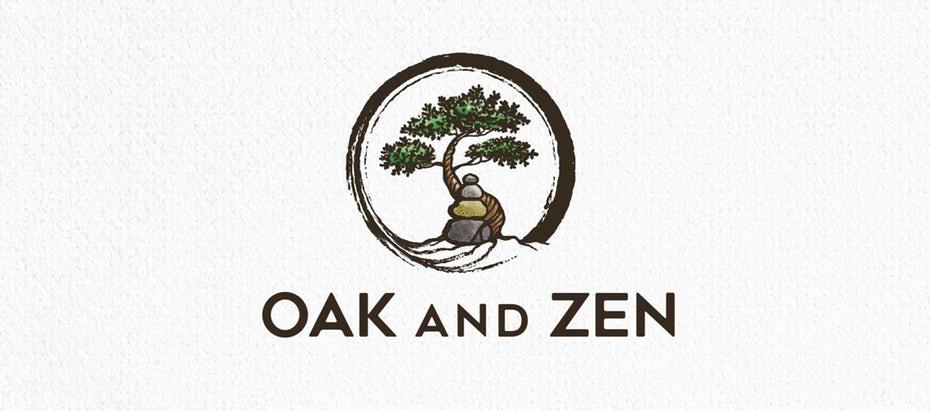 bonsai logo with stones