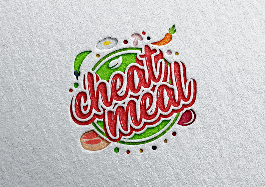 "circular  logo  with various foods surrounding the words ""cheat meal"""