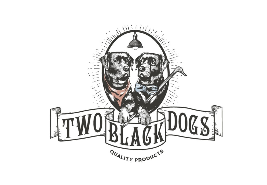 vintage-style  logo  depicting two black labradors