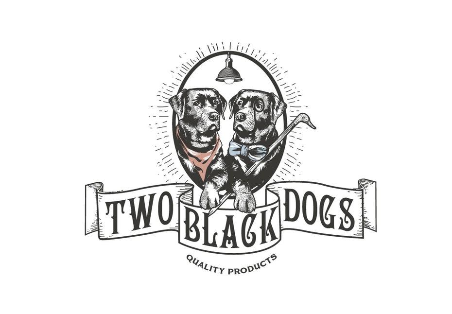 vintage-style logo depicting two black labradors