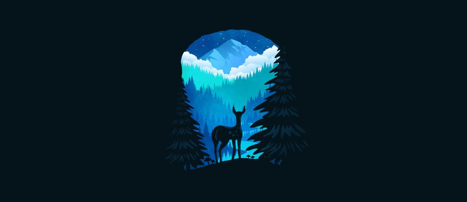 forest with deer logo