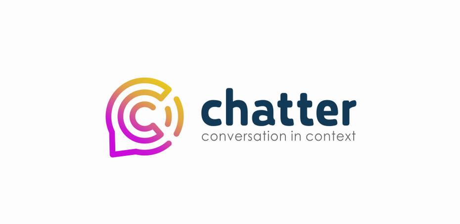 """round logo of a letter """"c"""" within a speech bubble"""