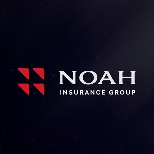 """four red triangles arranged in a square beside the name """"Noah Insurance Group"""""""