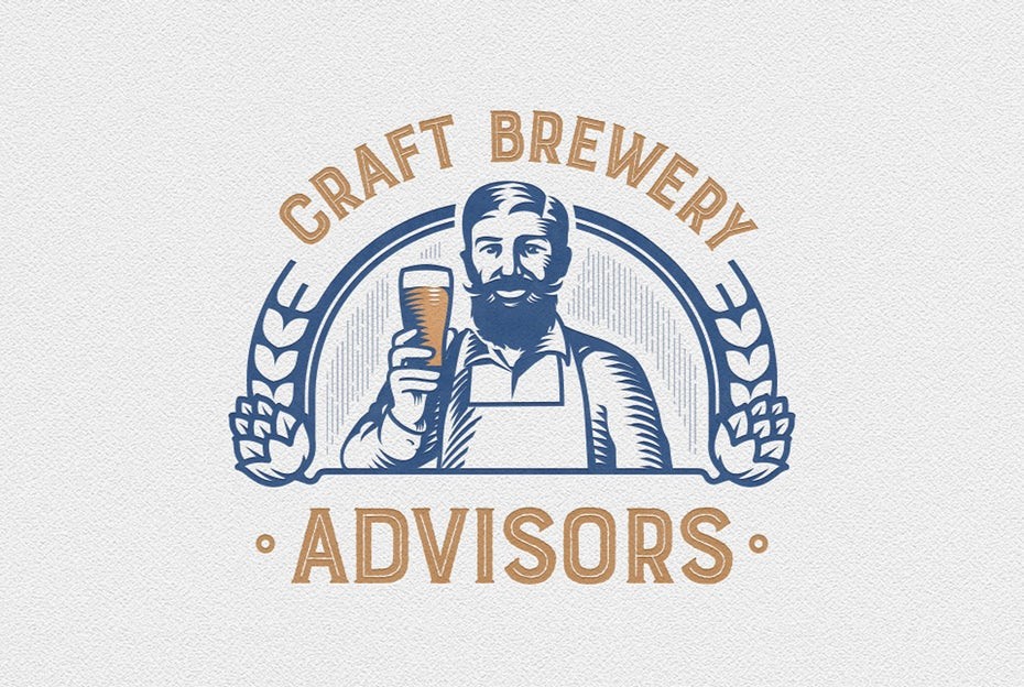 two-tone vintage style  logo  of a man holding up a glass of beer and smiling at the viewer