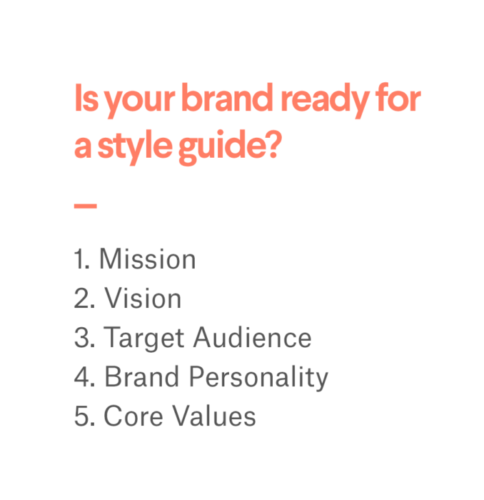 the steps to get a brand ready for a style guide