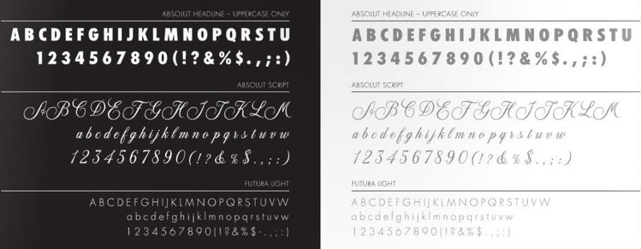 absolut identity design typeface