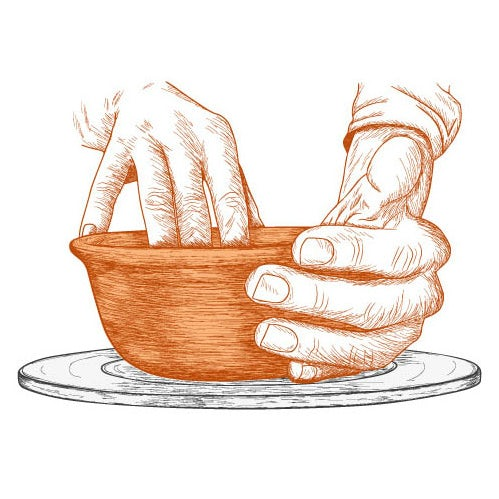 An sketch-style illustration of clay pottery making