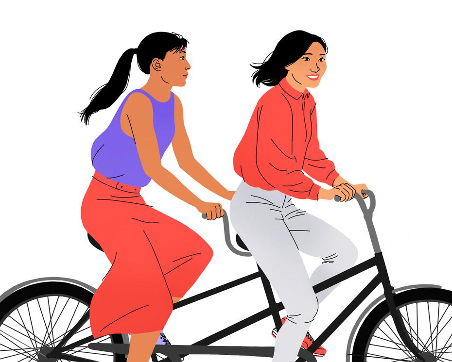 An illustration of two best friends tandem biking