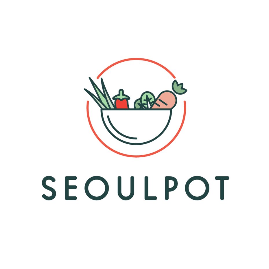 logo  with line art illustration of bowl filled with vegetables