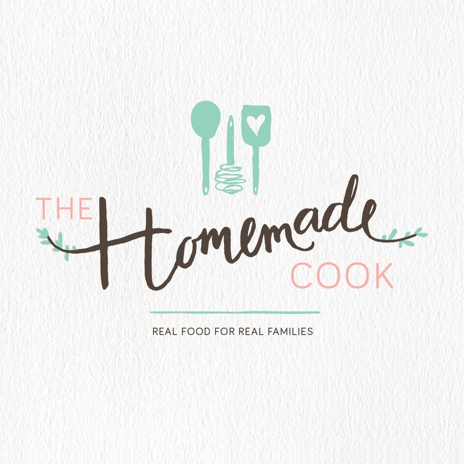 handlettered cooking logo with coking utensils