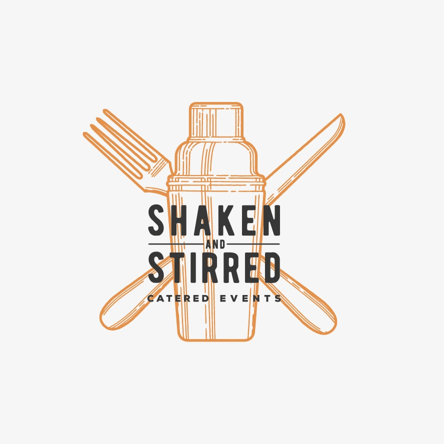 catering logo with classic illustration of shaker and cutlery