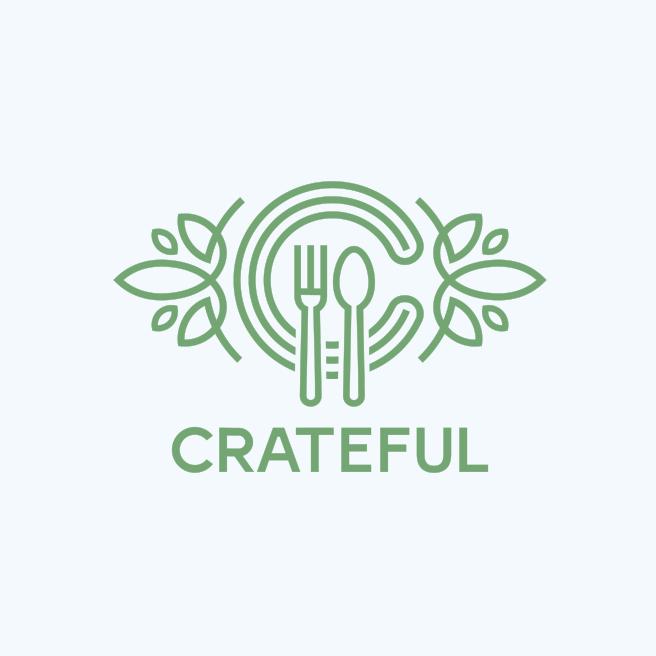 elegant minimalist catering logo with line art