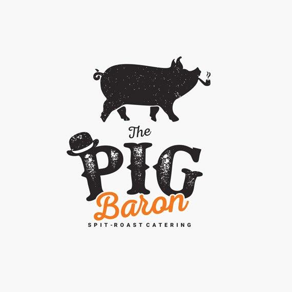 vintage catering  logo  with pig illustration