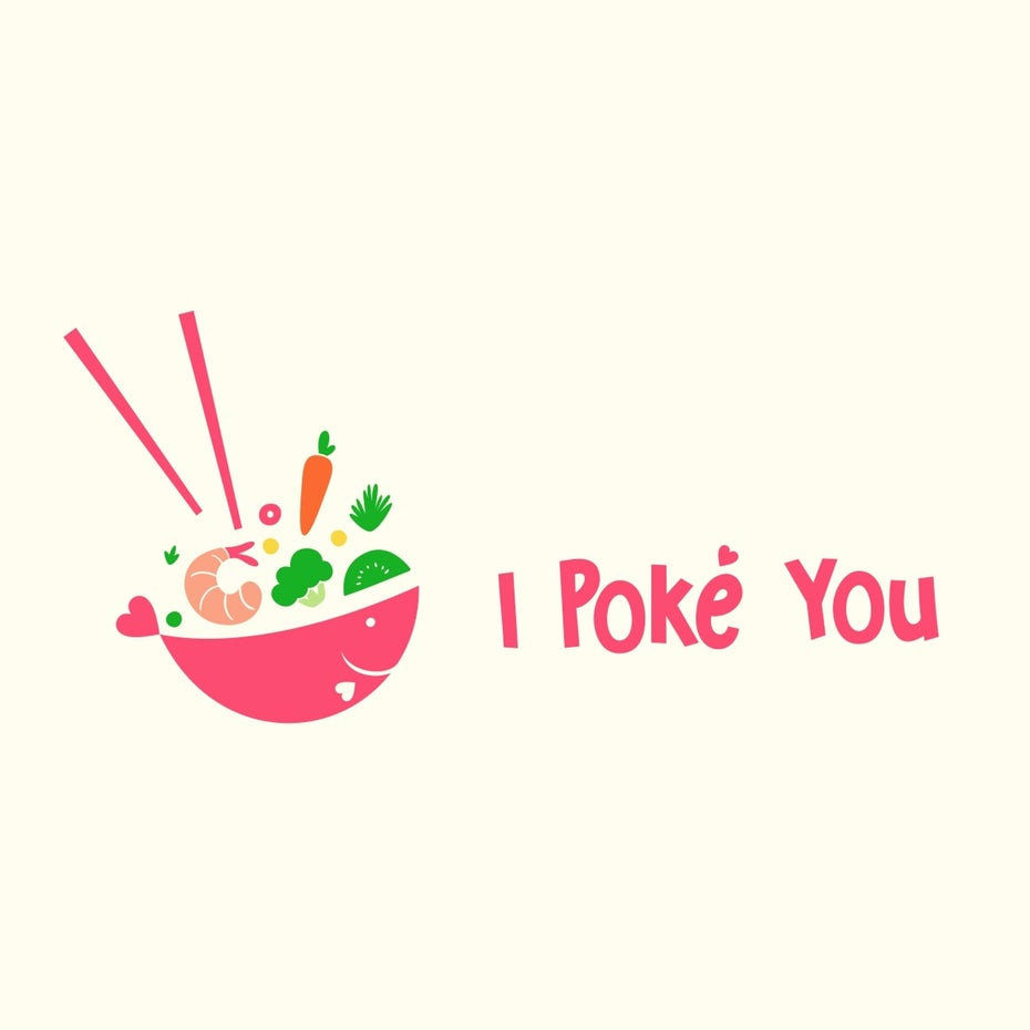 colorful poke bowl  logo