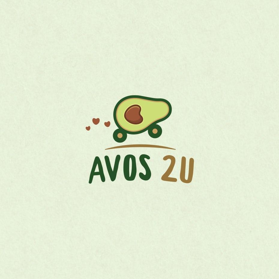 avocado  logo  with avocado in wheels