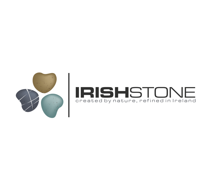 """image of a clover made up of three different stones and the text """"Irish Stone"""""""