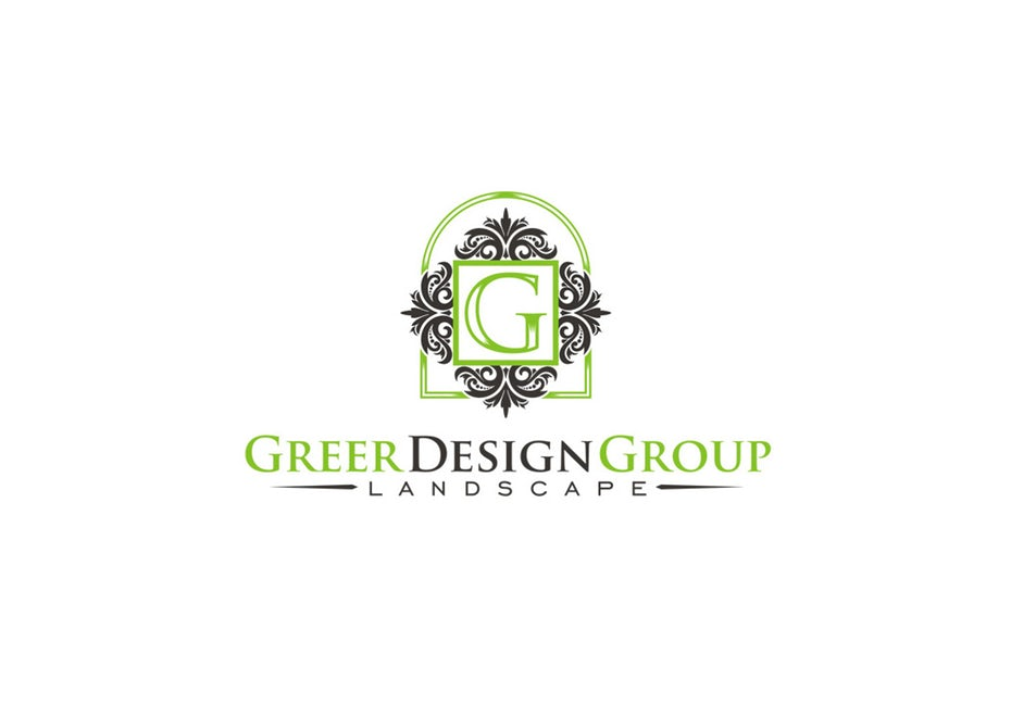 """intricate green and gray shapes surrounding the letter G with the text """"Greer Design Group Landscaping"""""""