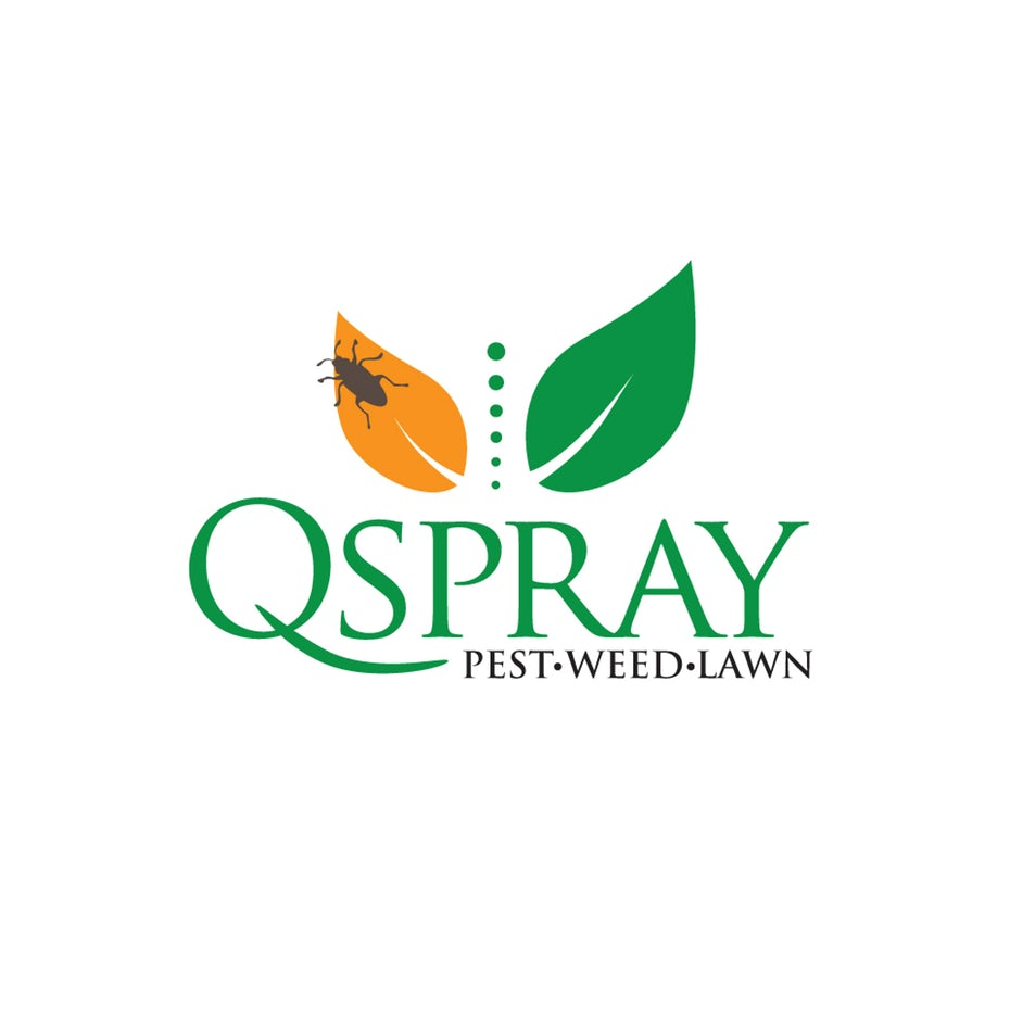 """two leaves, one orange with a bug on it and one green, with the text """"QSpray Pest Weed Lawn"""""""