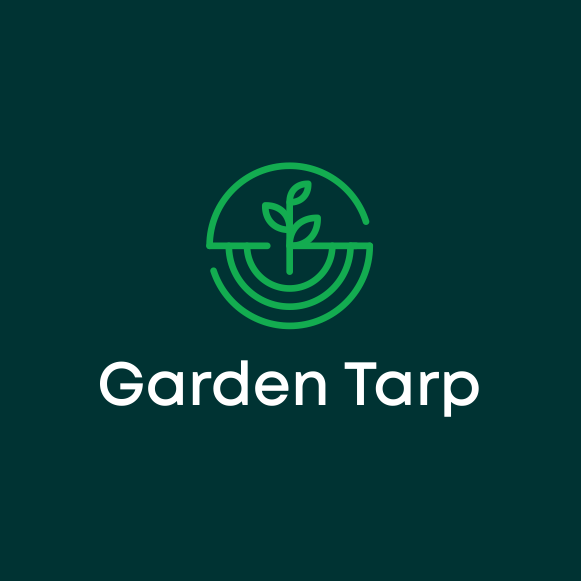 """geometric  logo  of a circle around a plant growing in dirt depicted via line art and the text """"Garden Tarp"""""""
