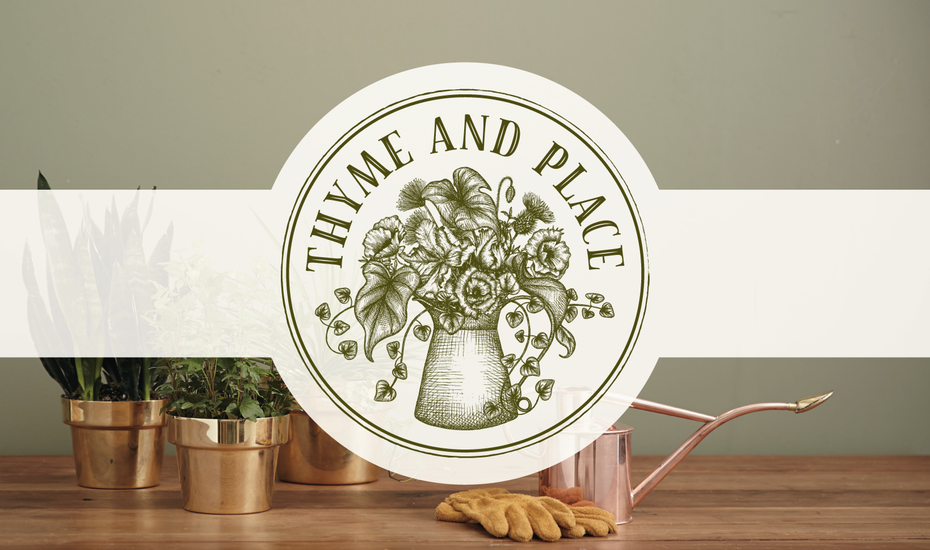 """round, rustic-looking stamp image of flowers and leaves in a jug with the text """"Thyme and Place"""""""