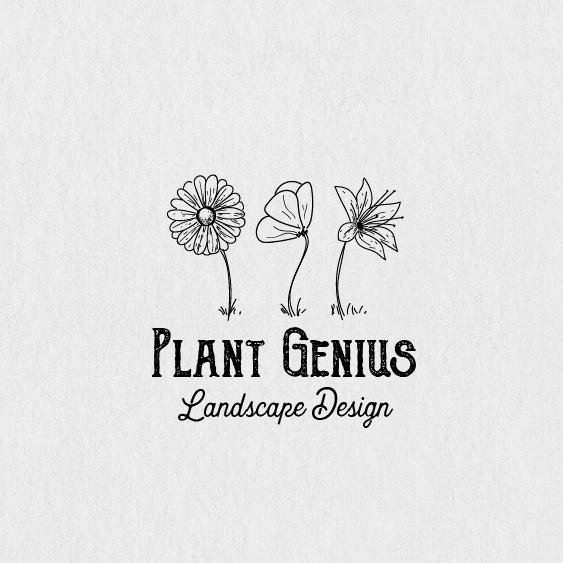 """three line-drawn flowers side by side with the text """"Plant Genius"""""""