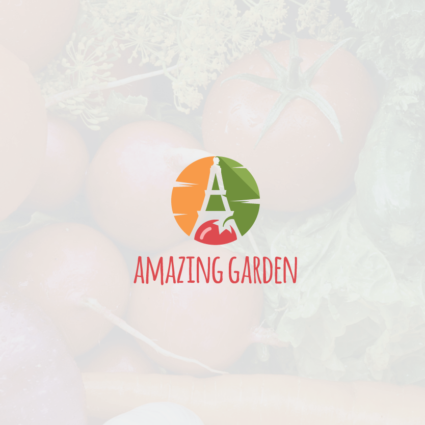 """stylized letter A in the negative space between a tomato, a carrot and a cucumber with the text """"Amazing Garden"""""""