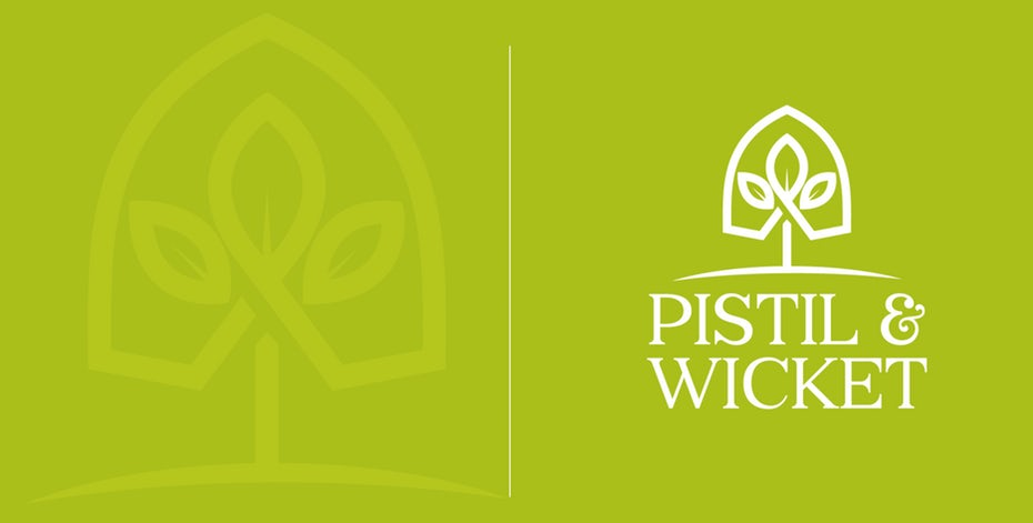 """geometric  logo  of a plant growing within a small greenhouse with the text """"Pistil & Wicket"""""""