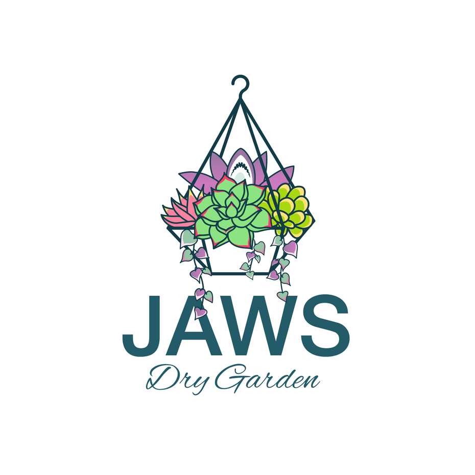 """hanging basket filled with succulents and the text """"Jaws Dry Garden"""""""