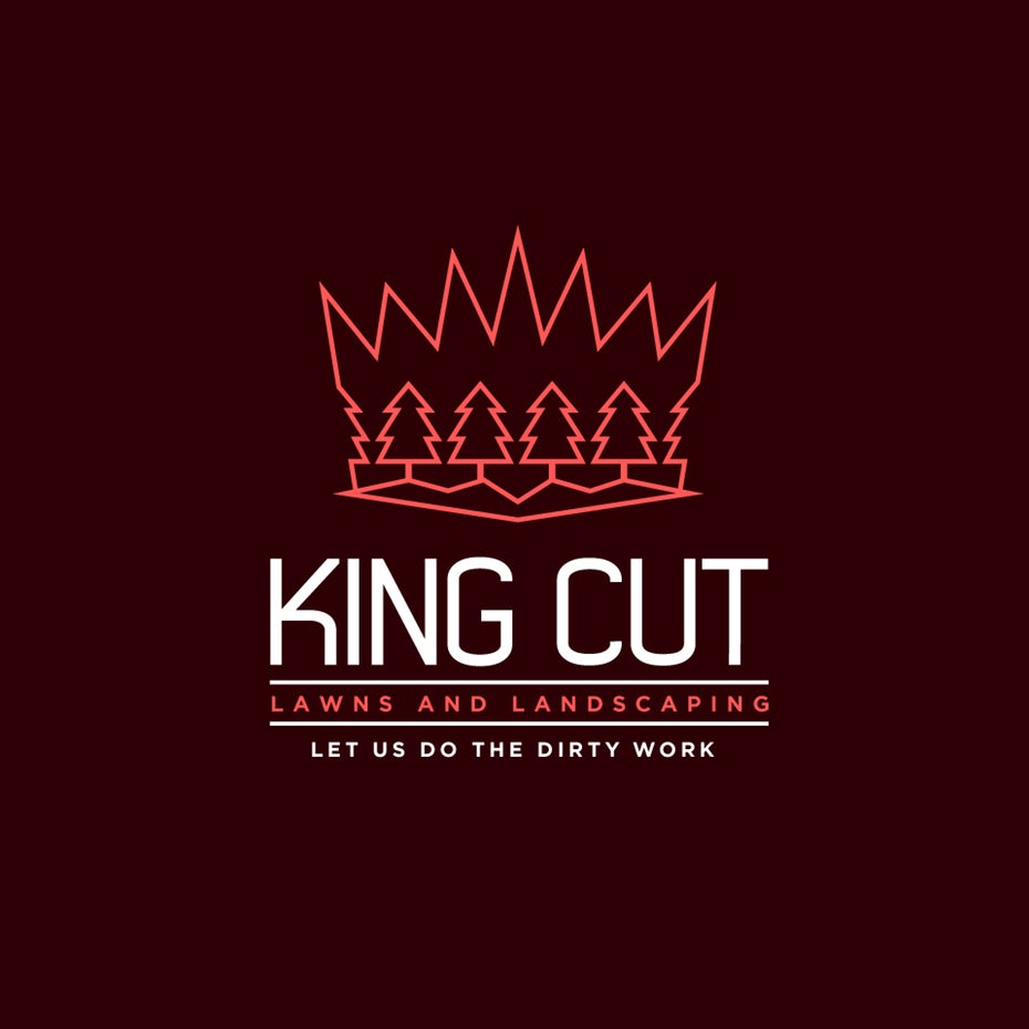 """crown-shaped geometric  logo  with simple, geometric trees within its outline and the text """"King's Cut Lawns and Landscaping"""""""
