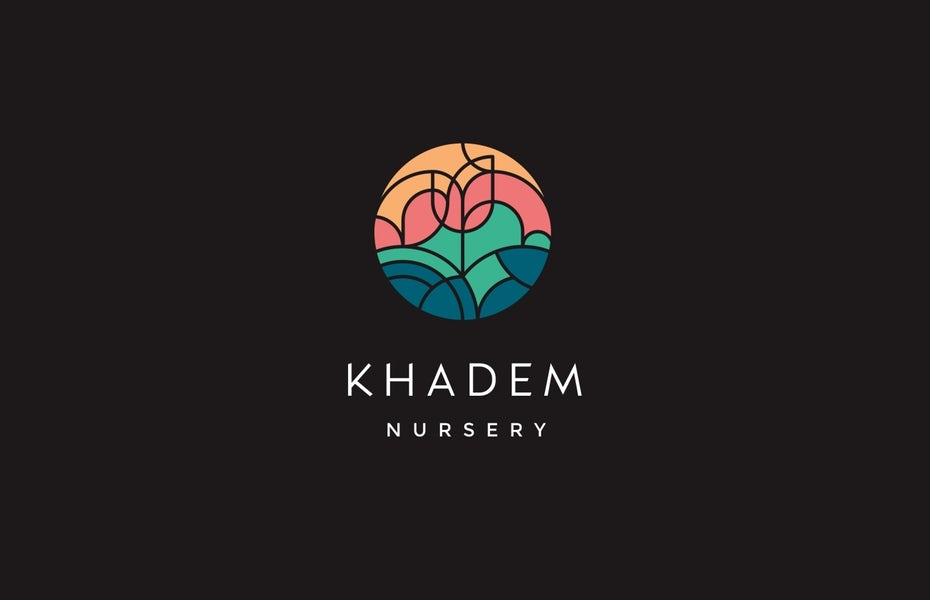"""circular  logo  comprised of geometric shapes that fit together to create an image of a flower with the text """"Khadem Nursery"""""""