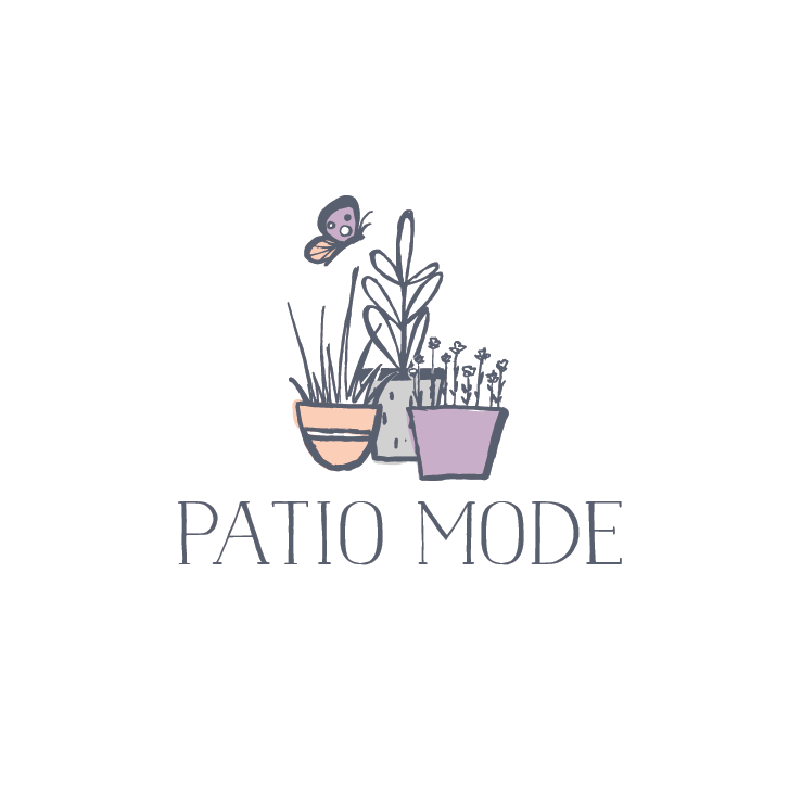"""three potted plants beside each other with the text """"Patio Mode"""""""