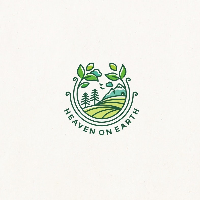 """round  logo  showing illustrated tree and mountains circled by plants with the text """"Heaven on Earth"""""""