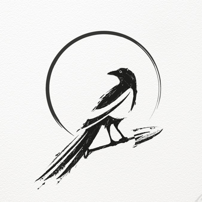 """round, black  logo  showing a raven sitting on a spade with the text """"Maggie Spade"""""""