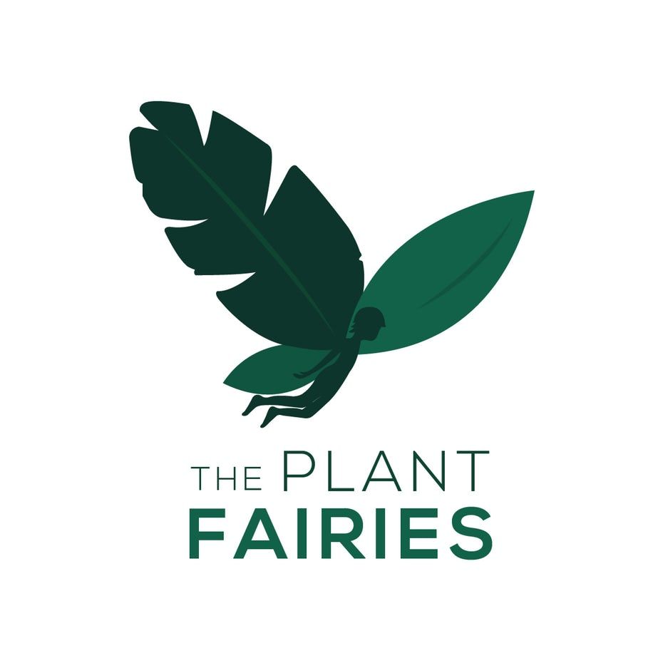 """silhouette of a fairy with a leaf for one of its wings and the text """"The Plant Fairies"""""""