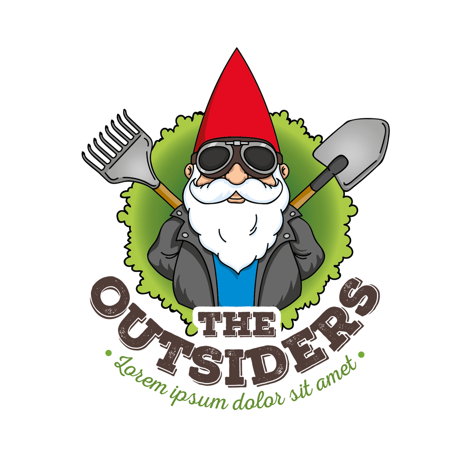 """garden gnome wearing sunglasses and holding a shovel and a rake behind his back with the text """"The Outsiders"""""""