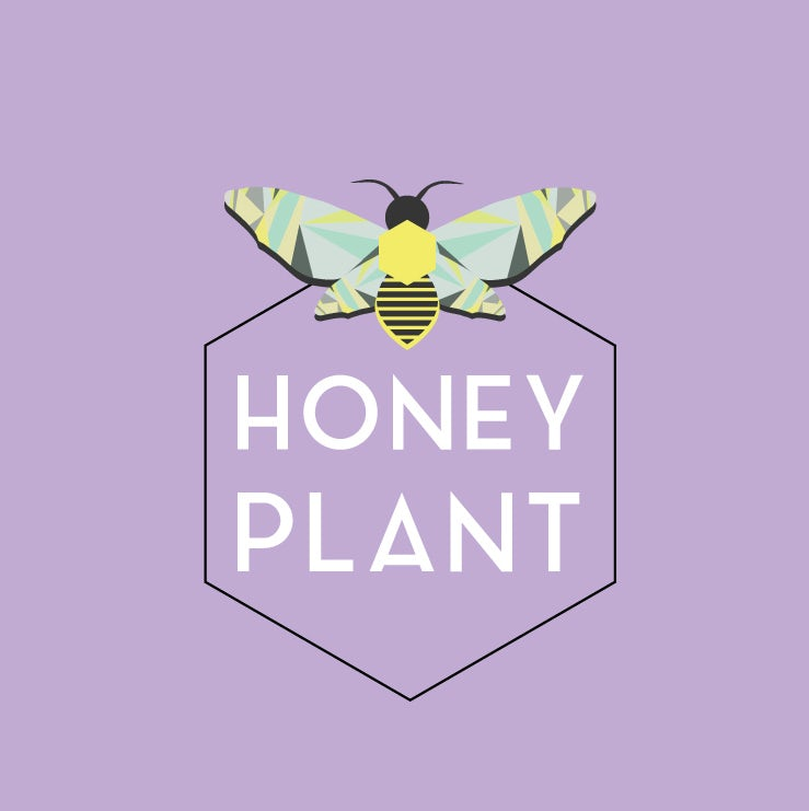 """hexagon-shaped  logo  with an image of a bee and the text """"Honey Plant"""""""