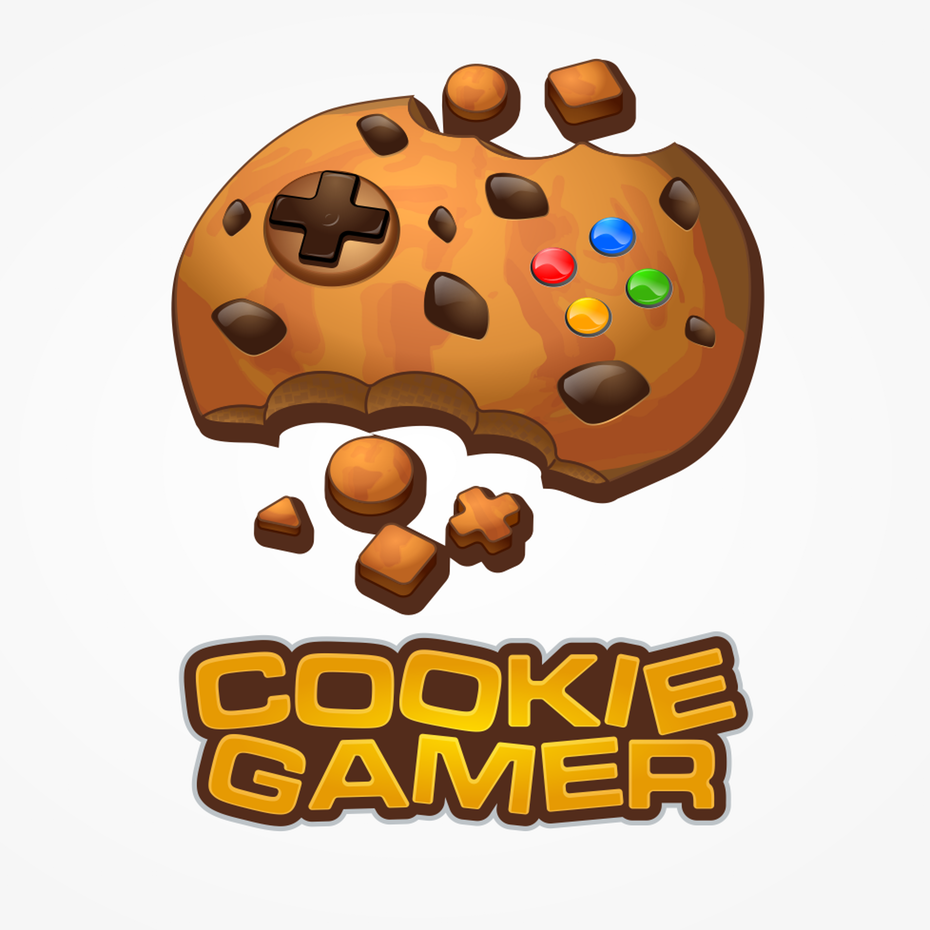 A quirky and playful  logo  using a cookie for a game-pad