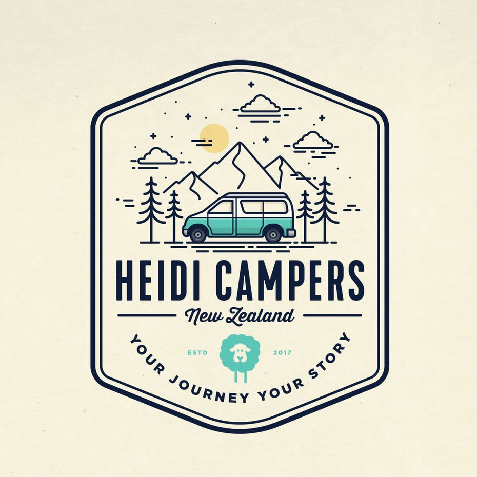 illustration of a camper driving past mountains and trees