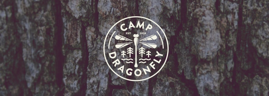camp logo design with dragonfly