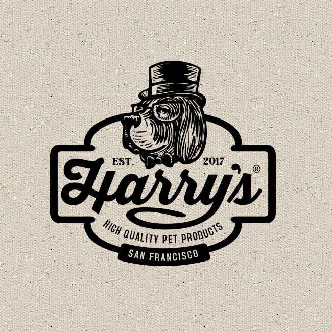 vintage dog  logo  that combines script and sans serif fonts