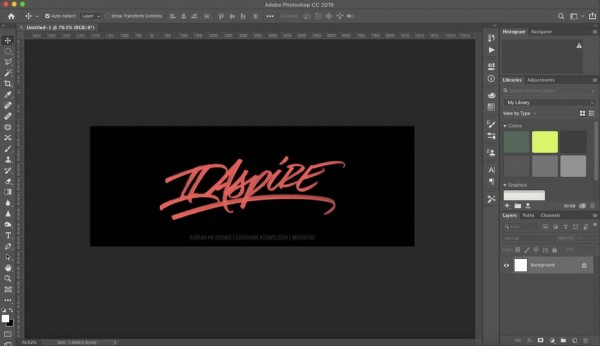 Lettering inside of Adobe Photoshop's interface