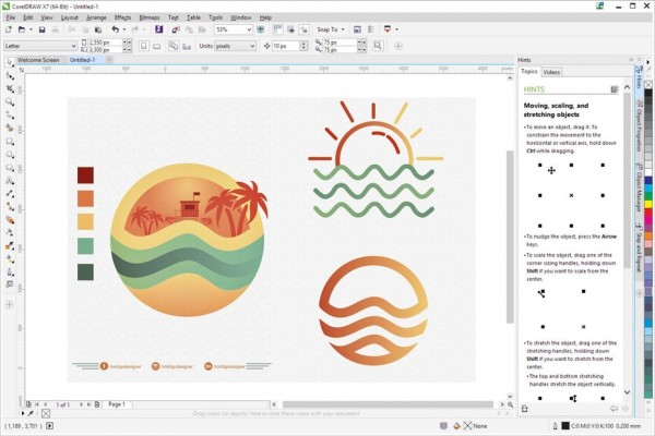 logo design inside of CorelDRAW's interface