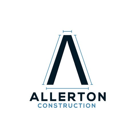 "Letter A outlined with thin, unconnected lines and the text ""Allerton Construction"""