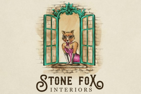 "drawing of an anthropomorphic fox leaning out an ornate window with the text ""Stone Fox Interiors"""