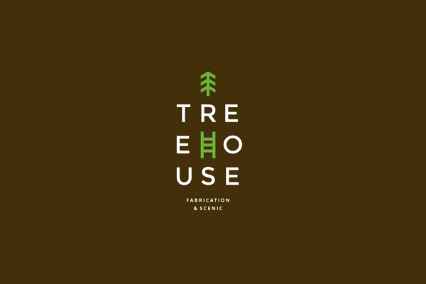 "The word ""Treehouse"" spelled out in a grid pattern, adorned with an image of a tree and an image of a ladder"