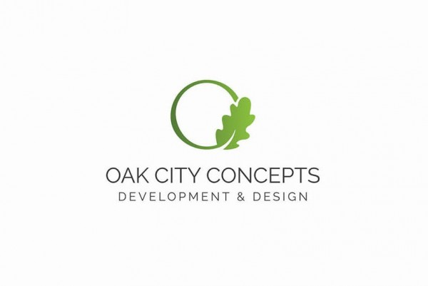 "round green  logo  with a leaf and the text ""Oak City Concepts Development and Design"""
