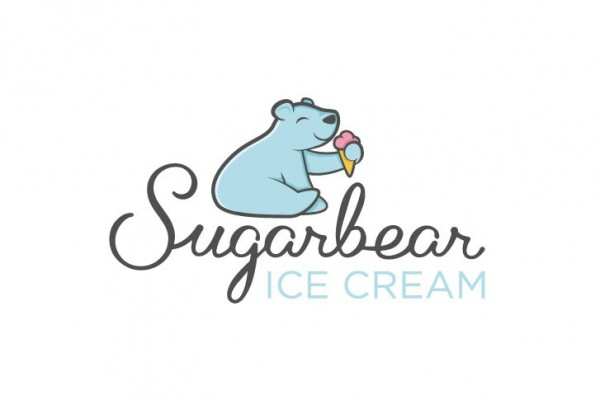 blue bear eating ice cream