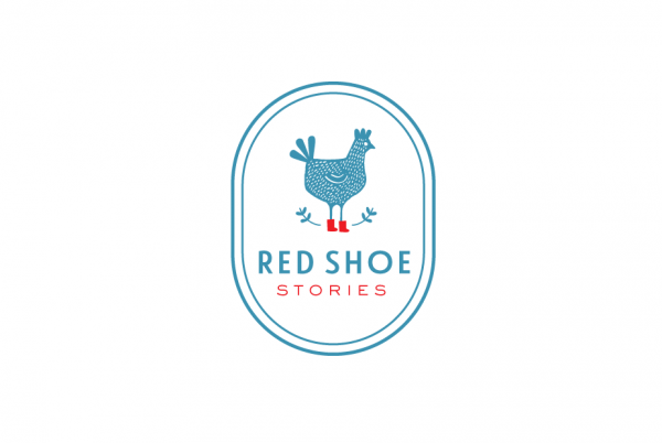 rooster wearing red shoes  logo